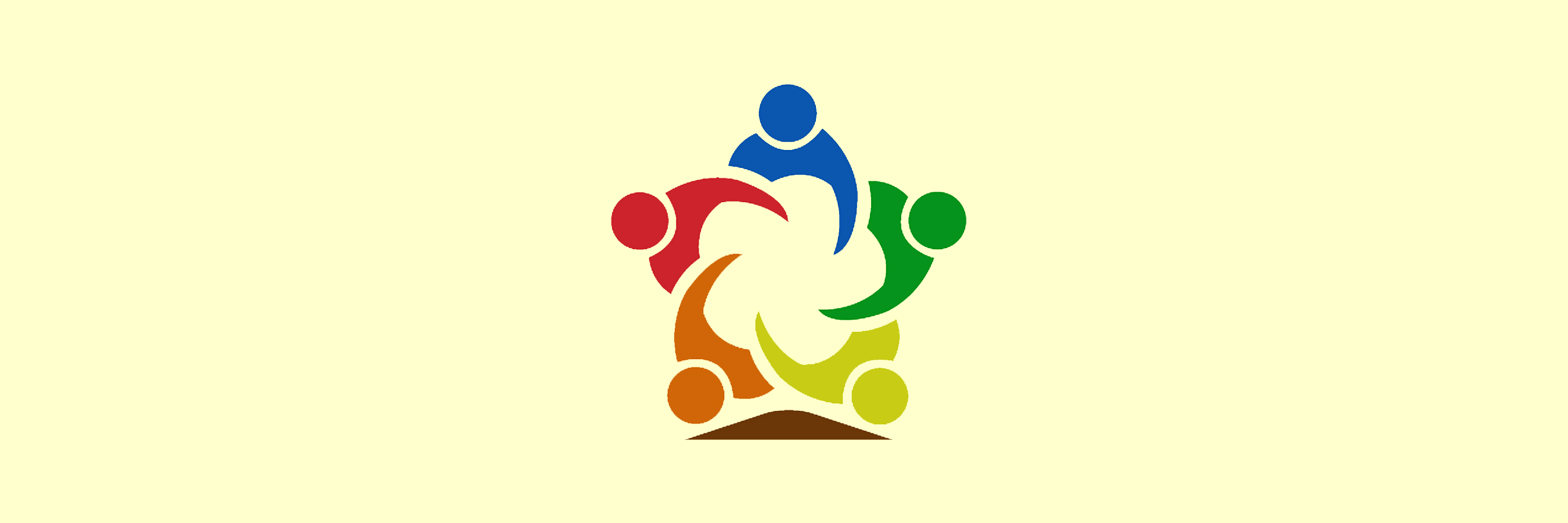 icon: 5 people (each a different rainbow color) forming a star with an arm