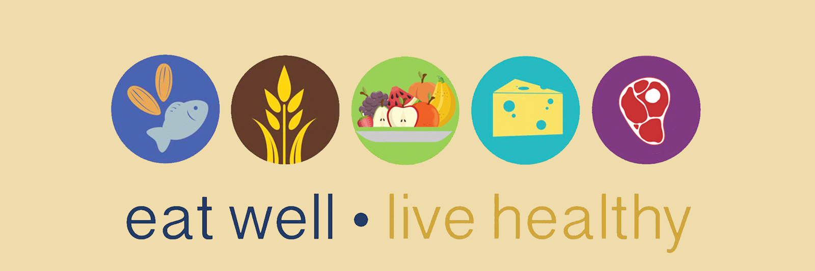 "graphic: 5 circular icons: fish, grain, fruit, cheese, meat with ""eat well • live healthy"" text below"