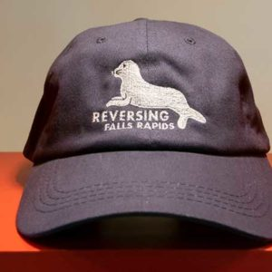 Reversing Falls Gift Shop: baseball cap with Reversing Falls Rapids and recumbent seal