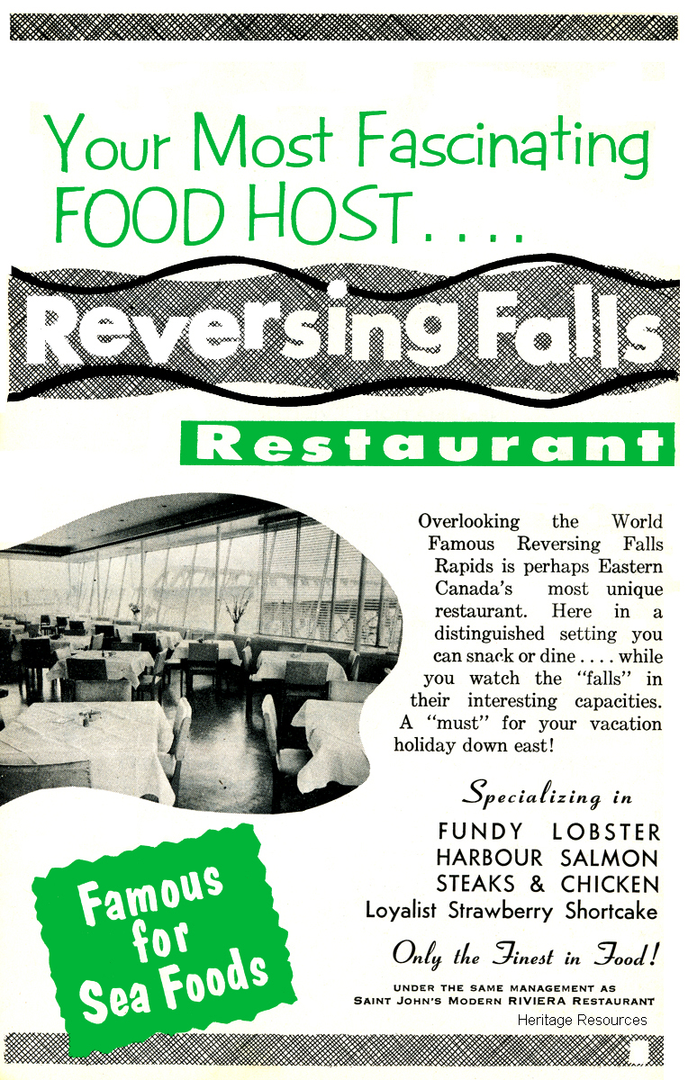 Reversing Falls Restaurant 1958 advertisement.