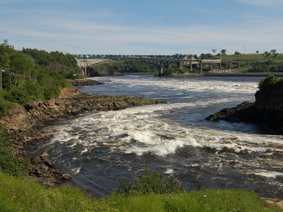 Fallsview Park at the Reversing Falls Rapids in Saint John New Brunswick Canada.