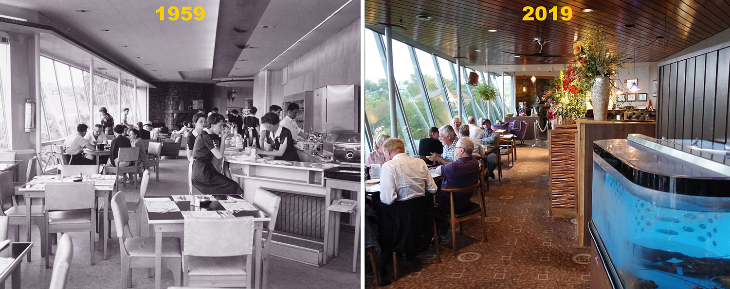 Reversing Falls Restaurant interior: 1959 and 2019